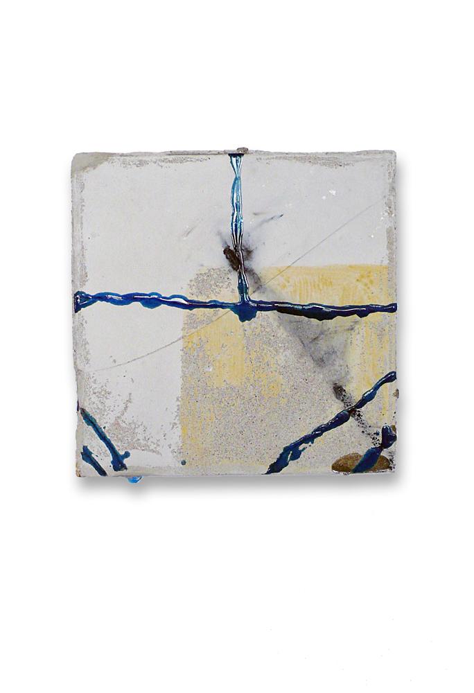 Strassen (ocker-blau-quadrat) / 2015 / Beton, Polyesterharz / Concrete, polyester resin / 32 cm x 32 cm / Foto: Anne Lina Billinger